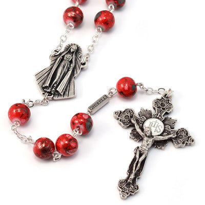 Fatima Immaculate Heart Red & Silver Rosary