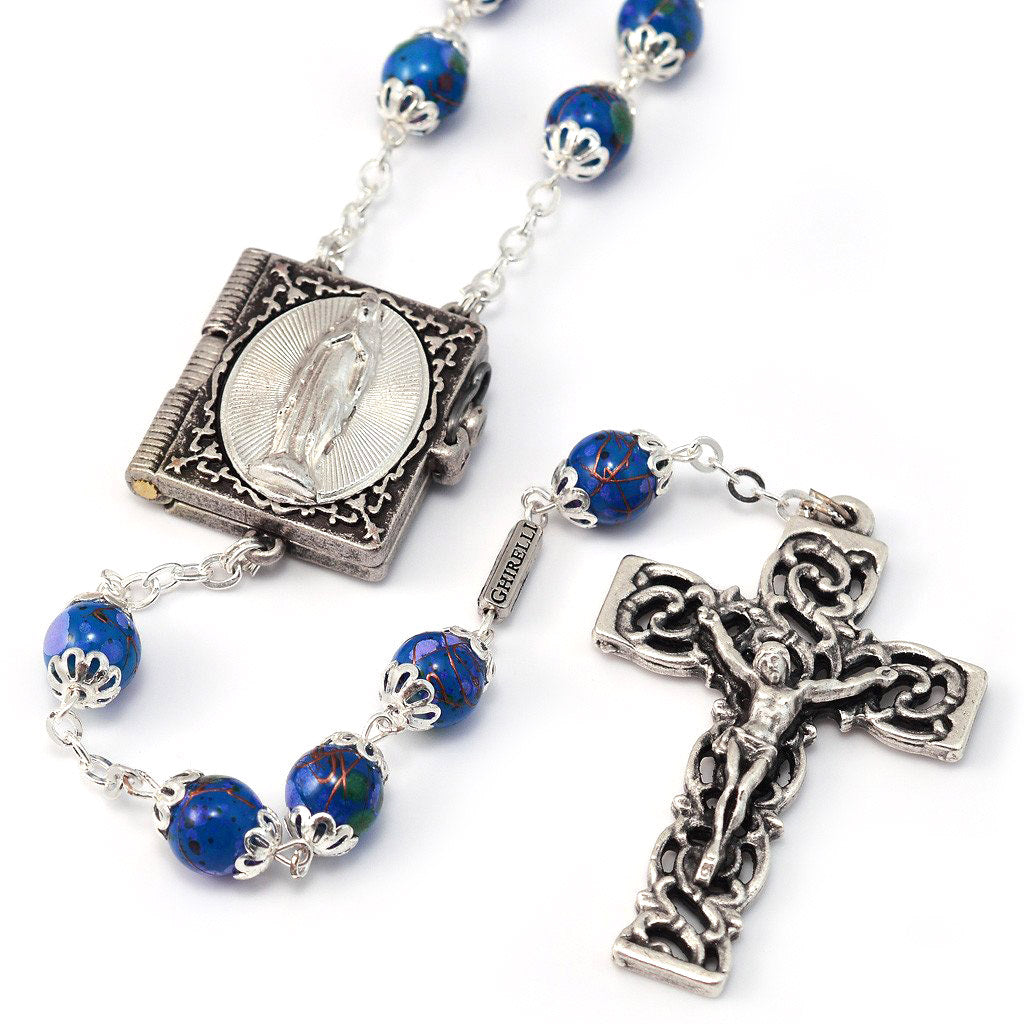 Lourdes Locket Blue & Silver Rosary