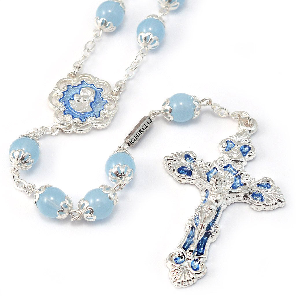 Mary's Motherly Love Collection Sky & Silver Rosary with Silver Caps