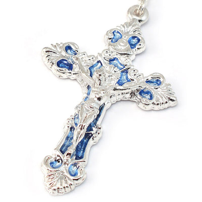 Mary's Motherly Love Collection Blue & Silver Rosary - 7mm
