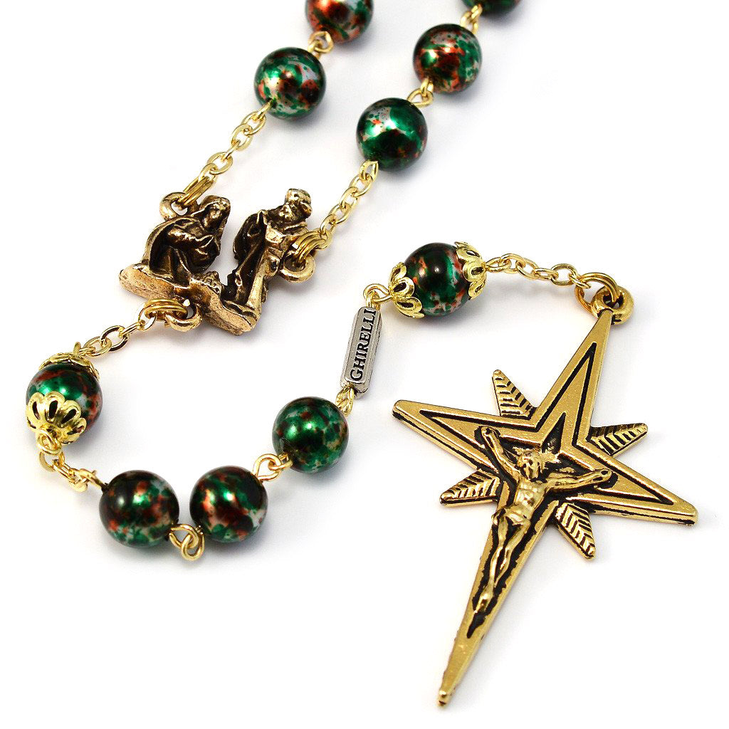 Holy Christmas Nativity Star Gold Rosary