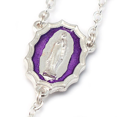 Lourdes Virgo Maria Roses Violet Two-Toned Glass Rosary
