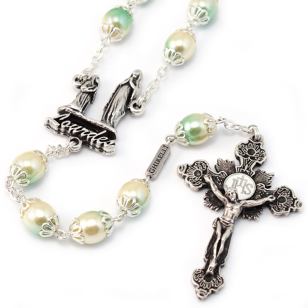 Lourdes Apparition Two-toned Pearl Rosary