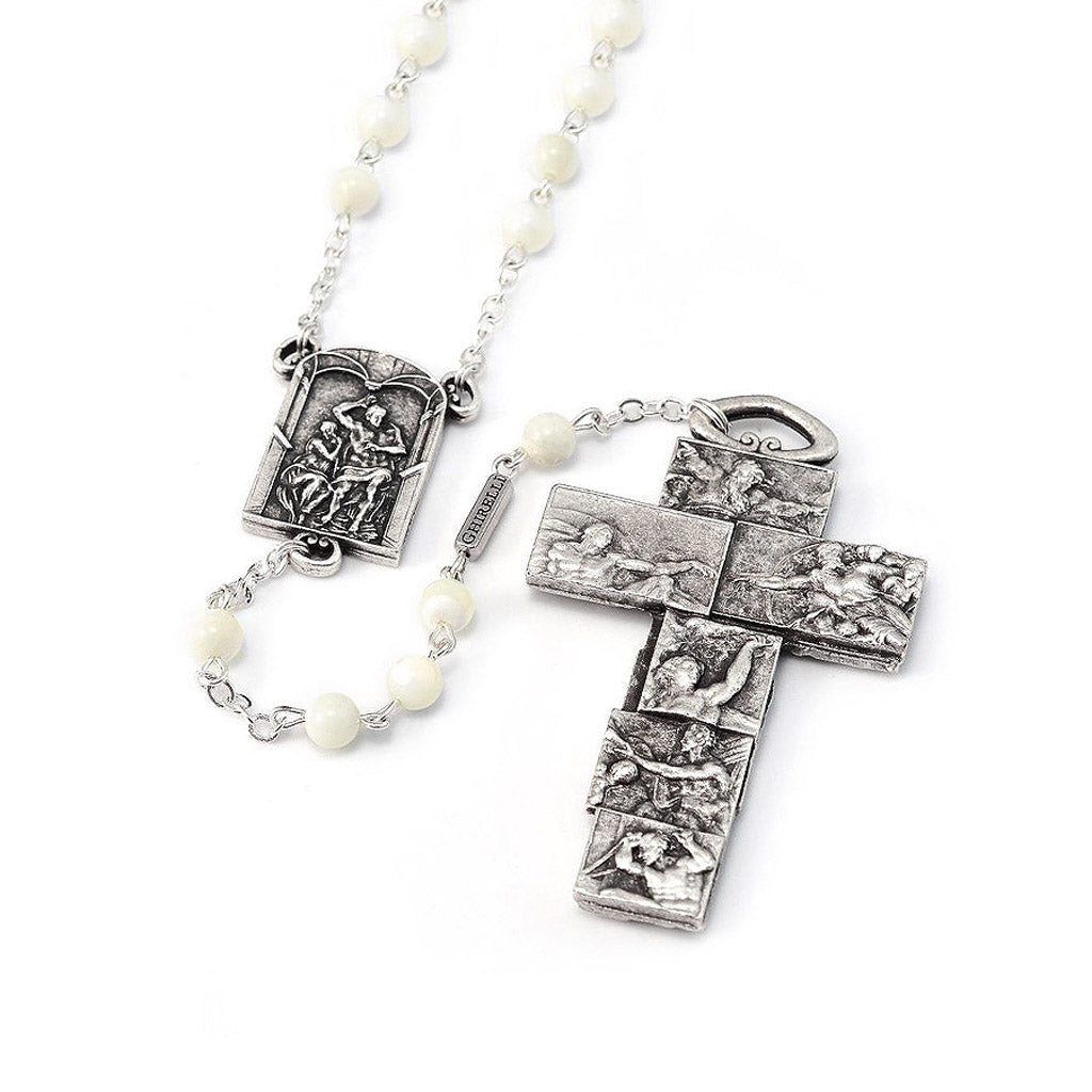The Sistine Chapel Rosary in Silver with White Beads
