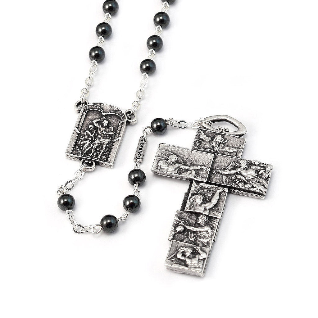 The Sistine Chapel Rosary in Silver with Hematite Beads