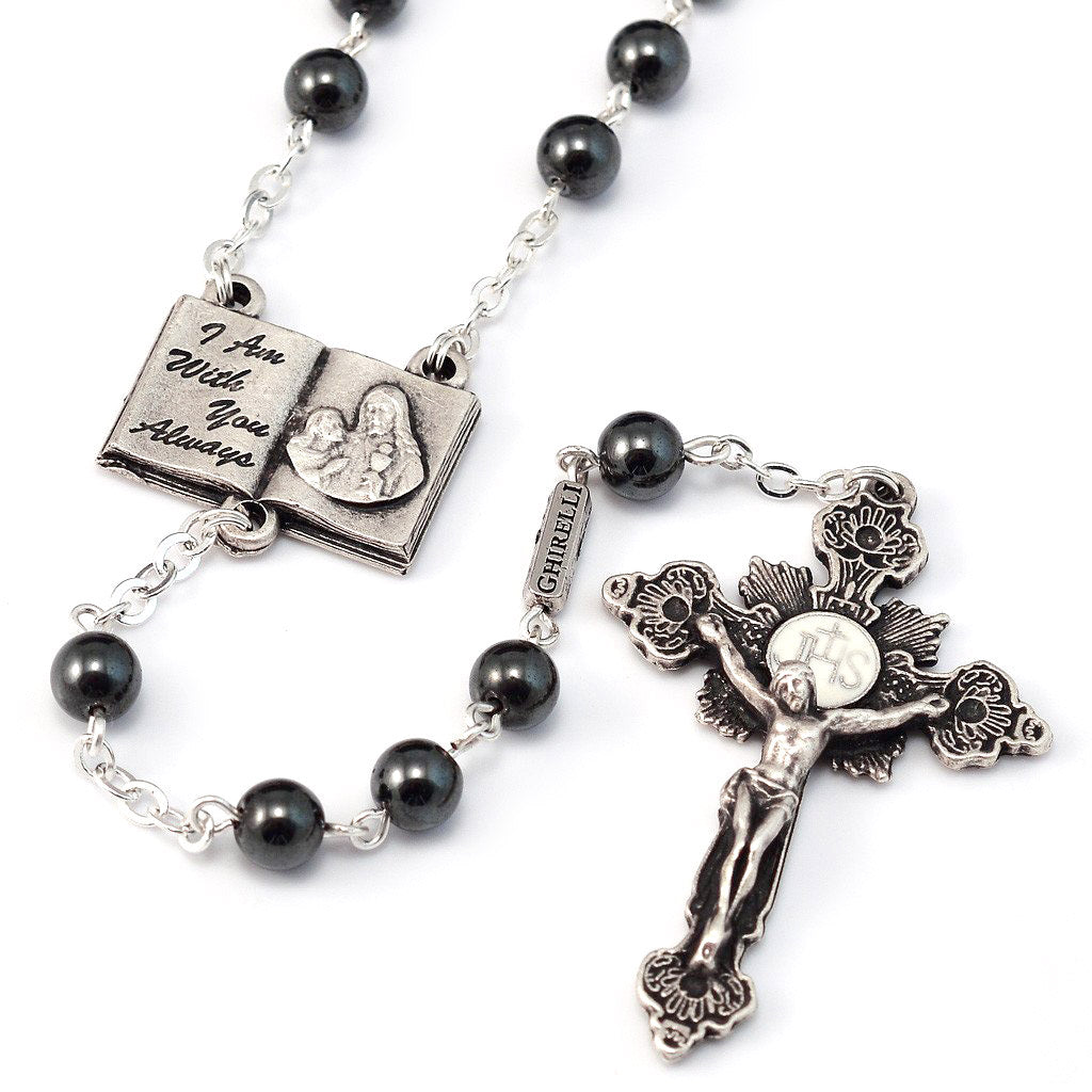 Holy Communion Book of Life Hematite & Silver Rosary