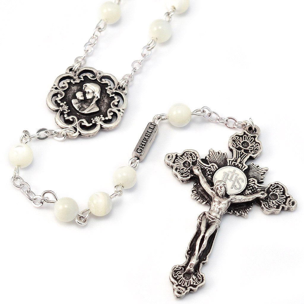 Mary's Motherly Love Pearl Holy Eucharist Rosary