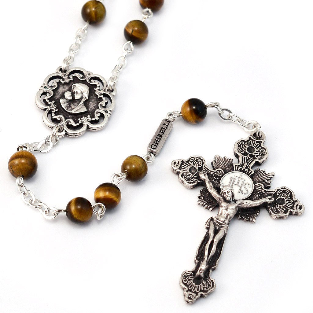 Mary's Motherly Love Collection Tiger's Eye Rosary