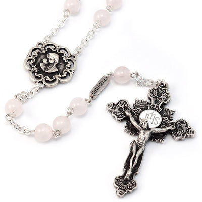 Mary's Motherly Love Collection Rose Quartz & Silver Rosary
