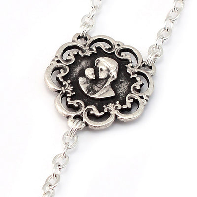 Mary's Motherly Love Collection Blush & Antique Silver Rosary