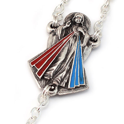 Merciful Jesus Divine Mercy Agate & Mother-of-Pearl Rosary