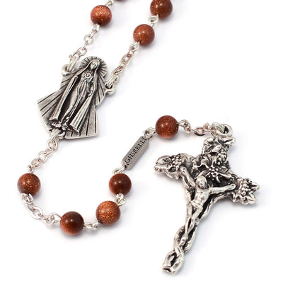 Fatima Immaculate Heart Goldstone & Silver Rosary