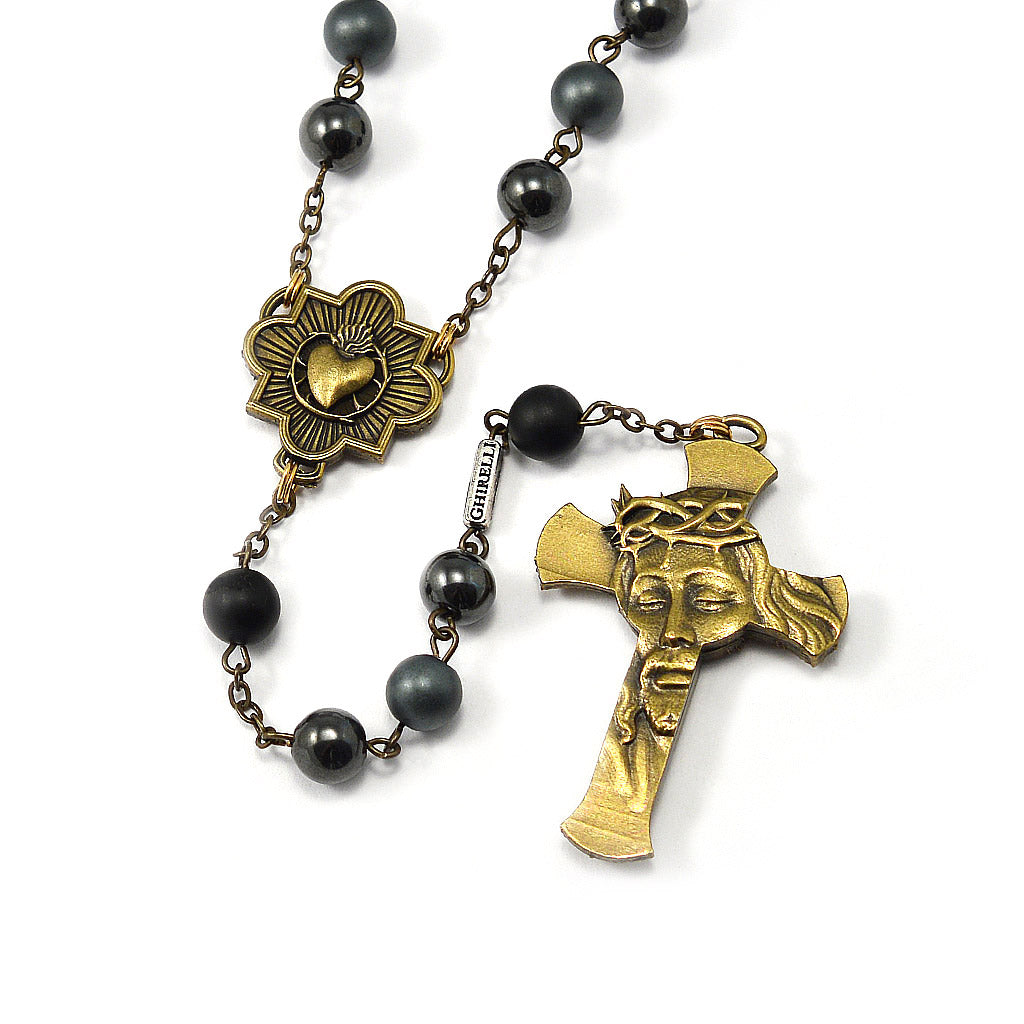Rosaries for Men in Antique Bronze and Hematite