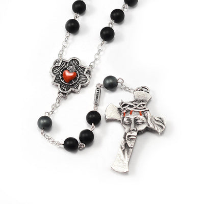 Rosaries for Men with Hematite, Black Agate & Silver