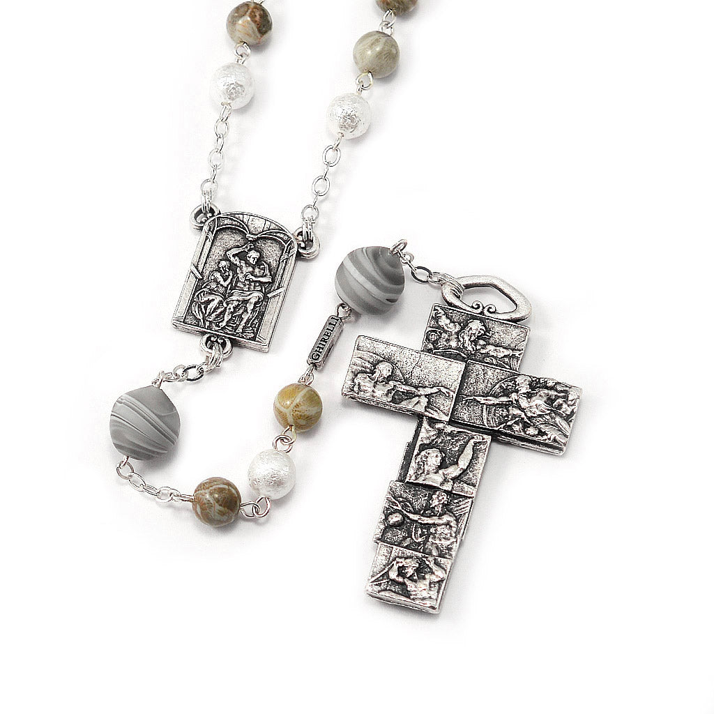 The Sistine Chapel Rosary in Antique Silver with Genuine Murano Glass Beads