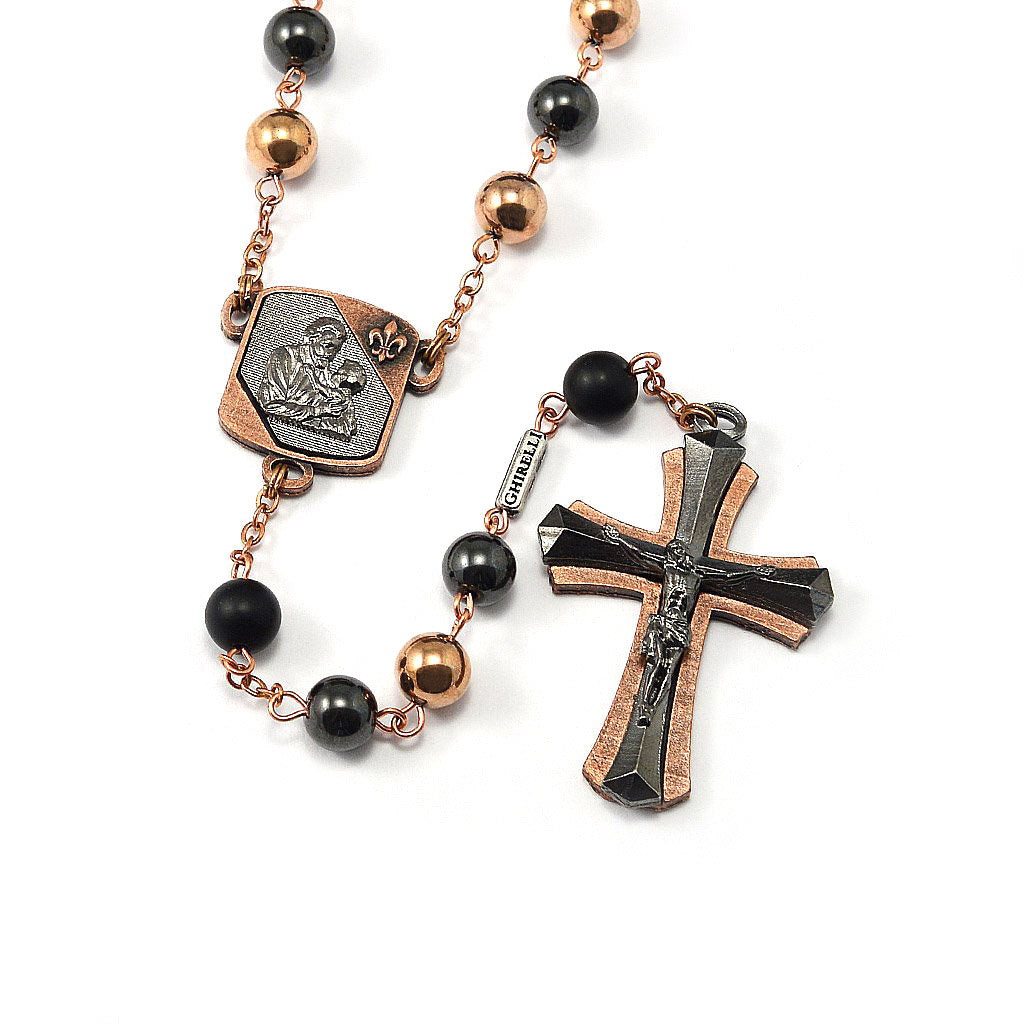 Saint Joseph Rosary in Copper, Gunmetal & Hematite