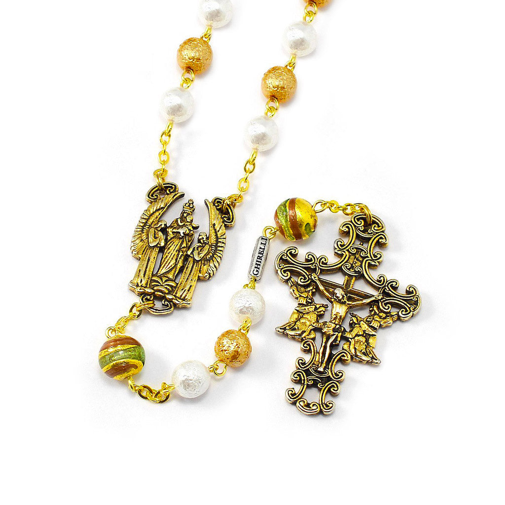 The Holy Angels Rosary in Antique Gold