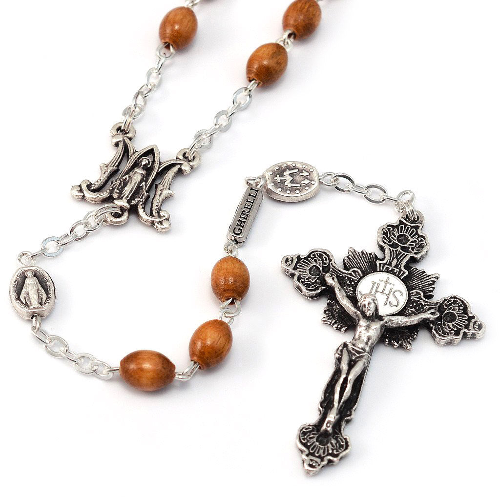Annunciation Rosary, Wood & Silver, Miraculous Medal
