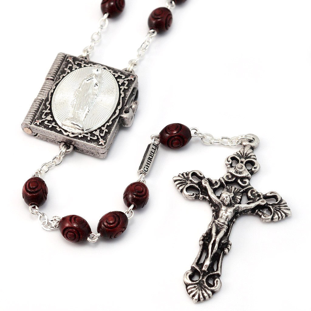 Lourdes Locket Italian Wood Rosary