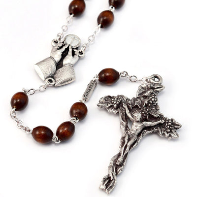 Holy Communion Vine & Branches Wooden & Silver Rosary