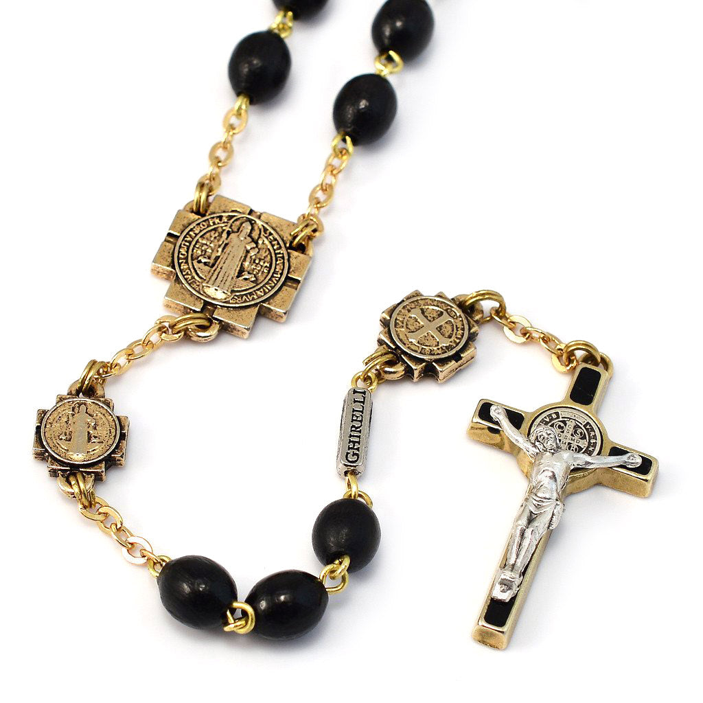 Saint Benedict Rosary with Black Italian Wood & Gold