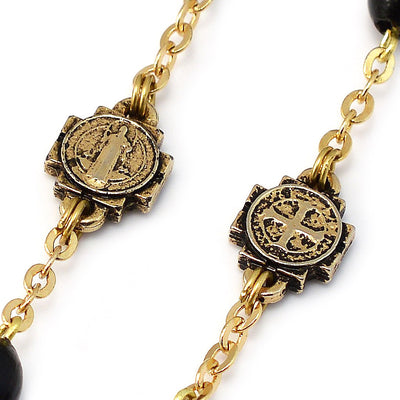 Saint Benedict Rosary with Black Italian Wood, Inlay & Gold