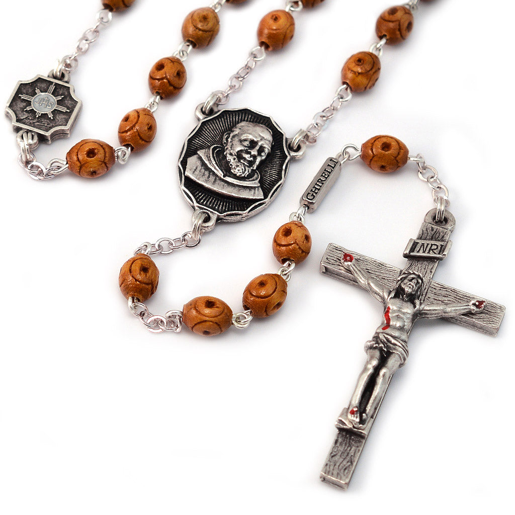 Saint Pio of Pietrelcina Rosary in Antique Silver with Wood Beads