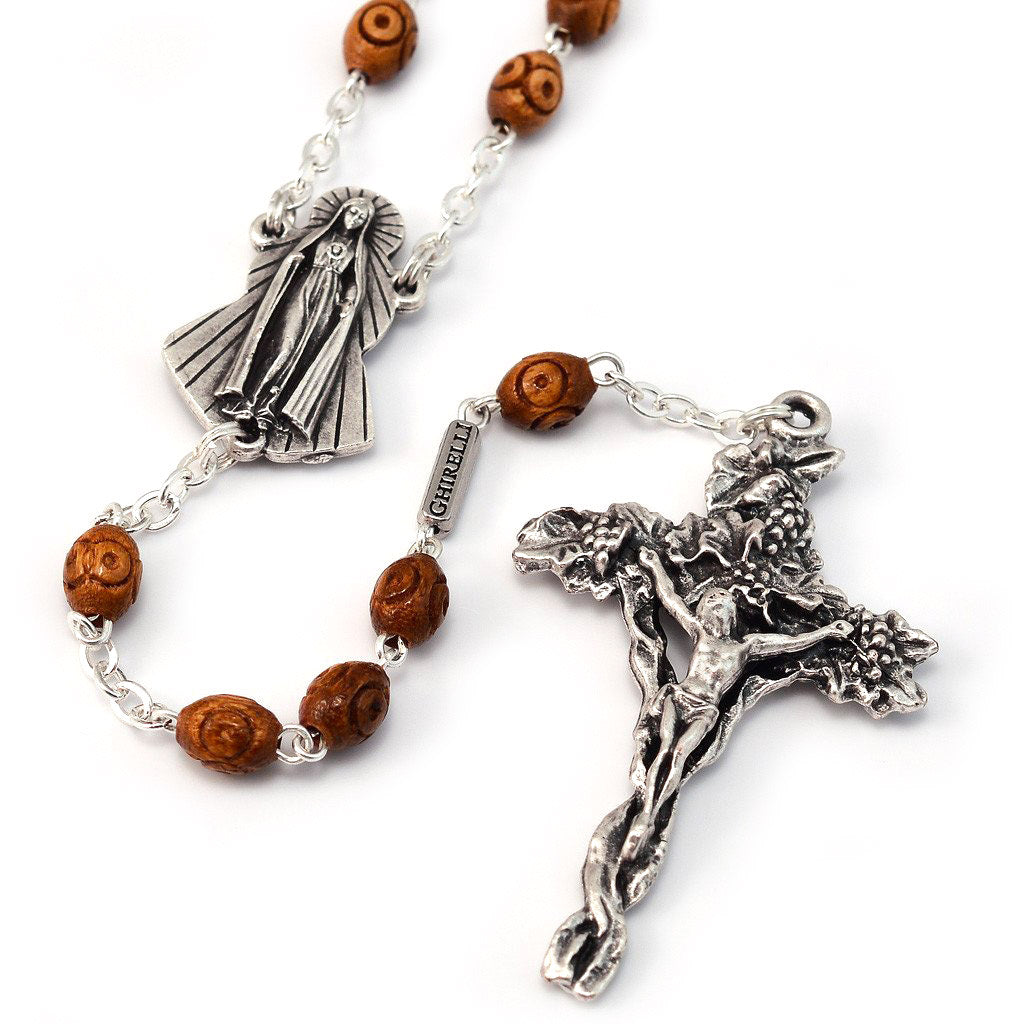 Fatima Immaculate Heart Wooden Rosary