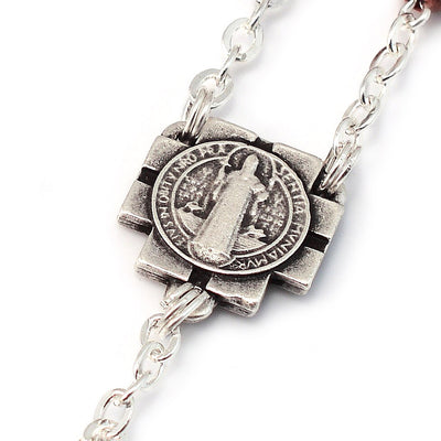 Saint Benedict Rosary with Italian Wood, Inlay & Silver