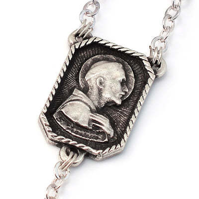 Saint Francis of Assisi Wood & Silver Rosary