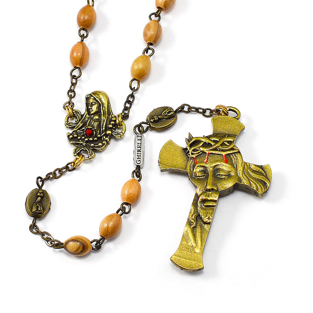 Our Lady of Fatima Rosary with Italian Olivewood Beads