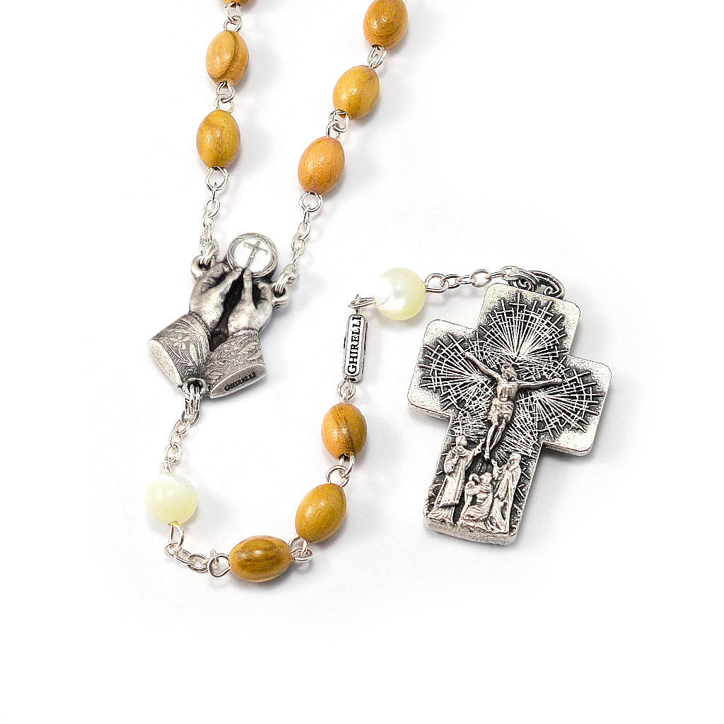 The Holy Mass Rosary with Italian Olivewood and Mother of Pearl Beads