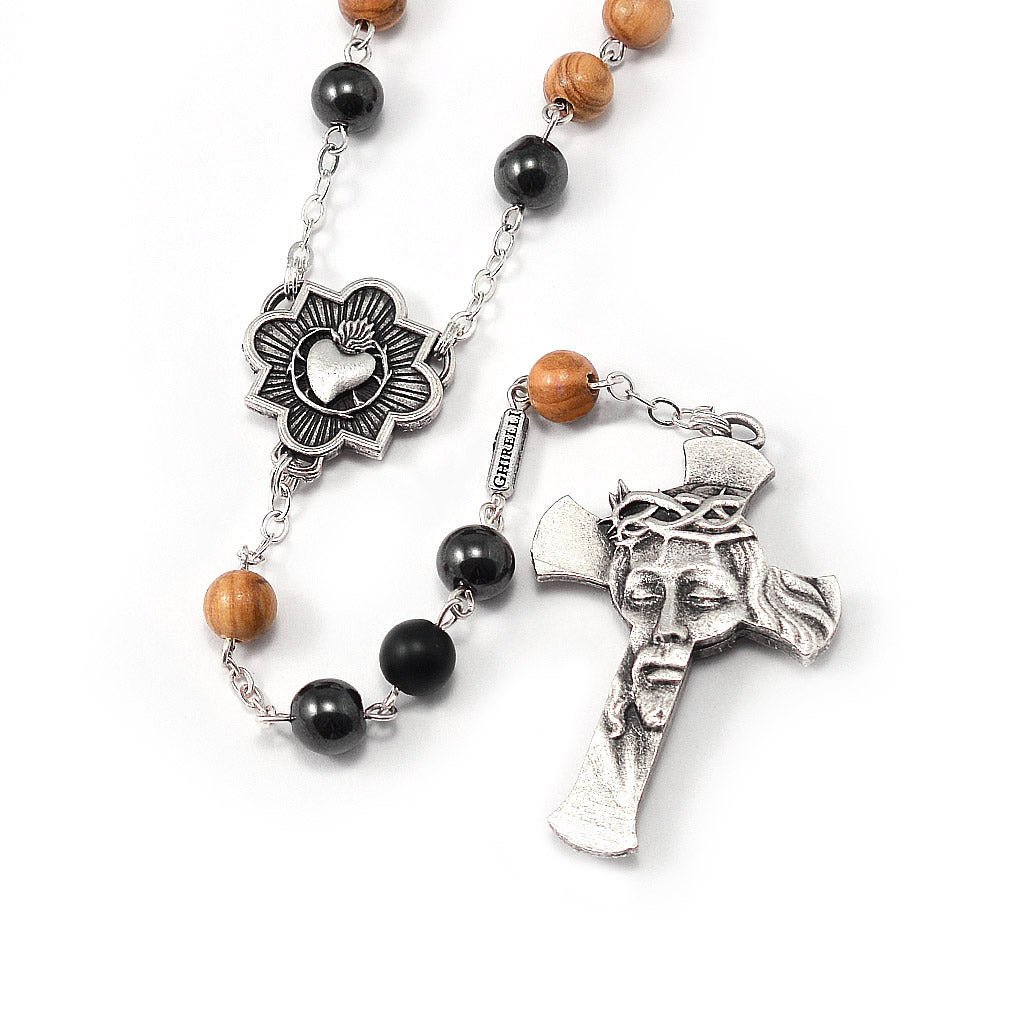 Rosaries for Men with Hematite & Olivewood Beads