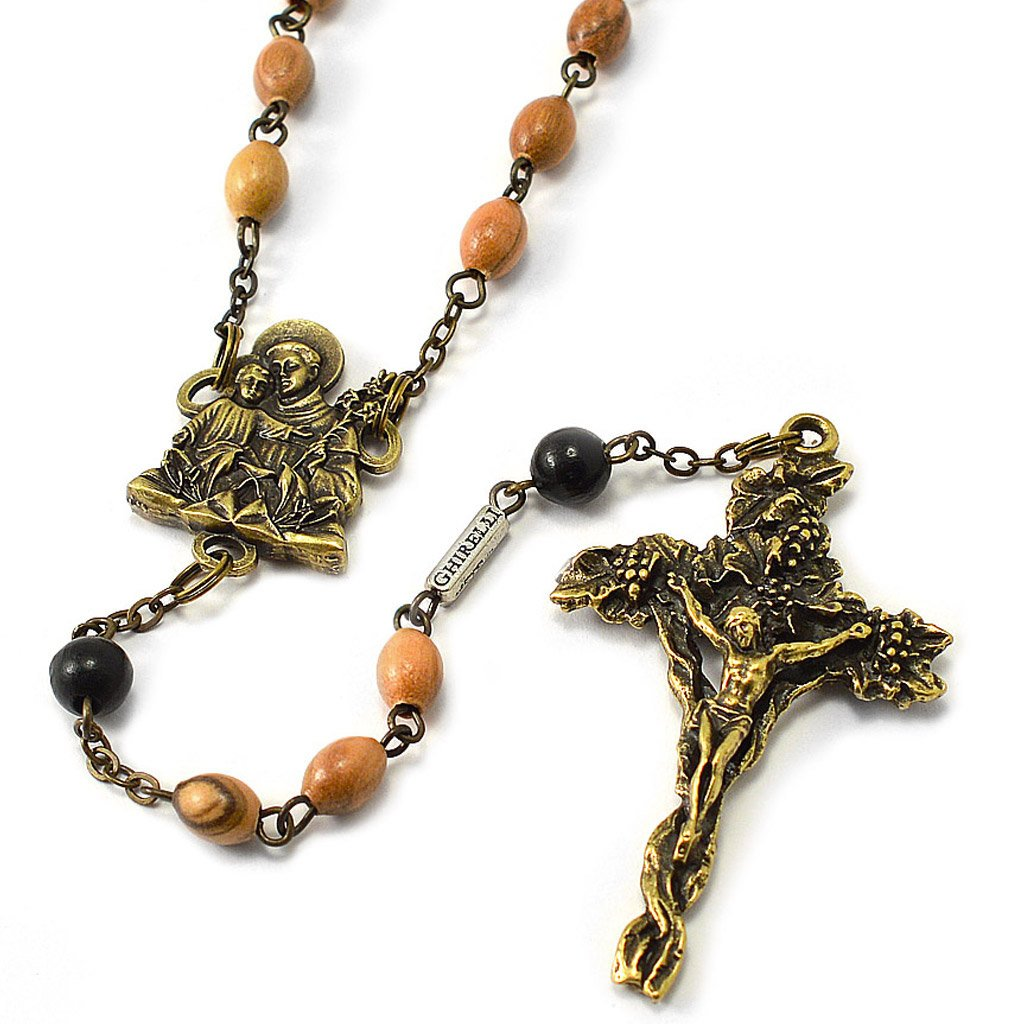 Saint Anthony Rosary in Antique Bronze and Olive Wood Beads