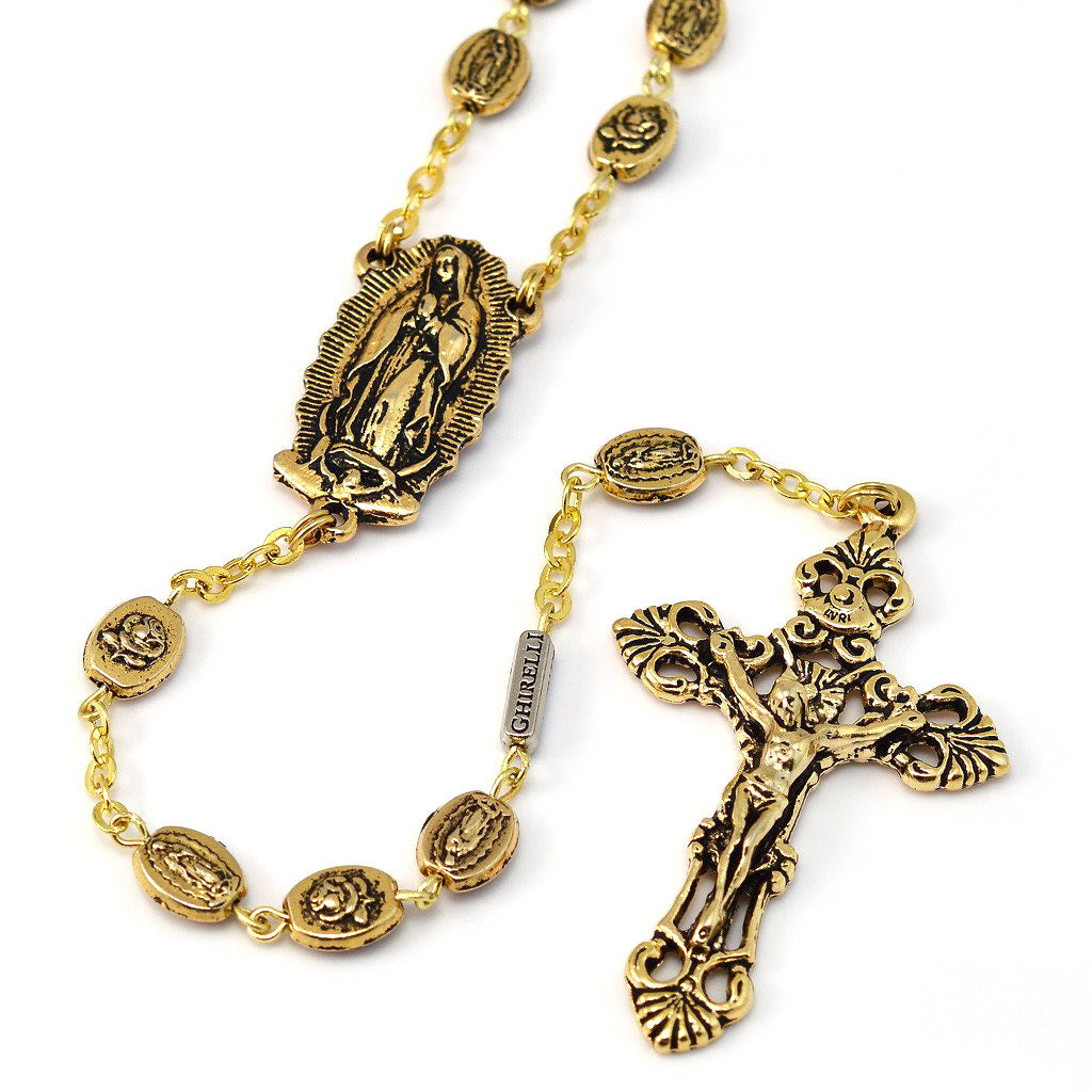 Our Lady of Guadalupe & Saint Juan Diego Gold Rosebud Rosary