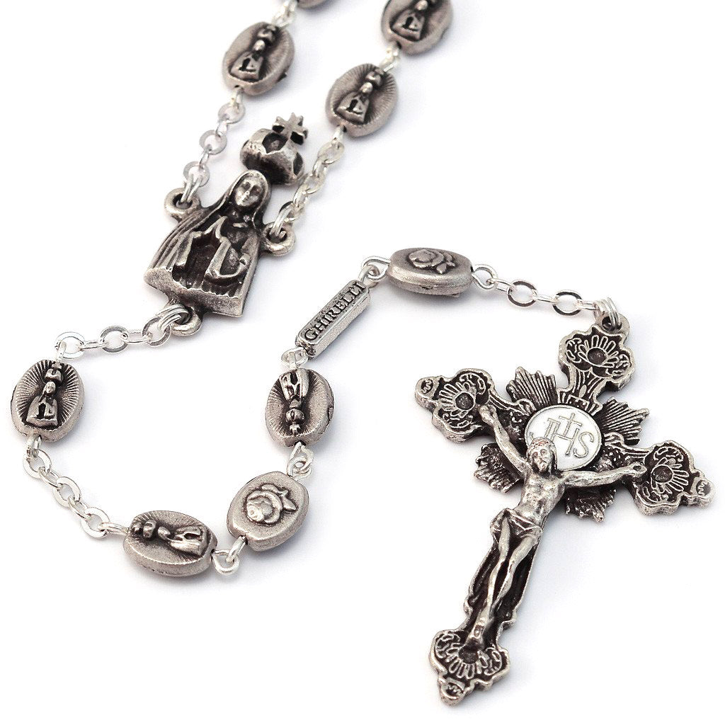 Fatima Crown of Roses Silver Rosary
