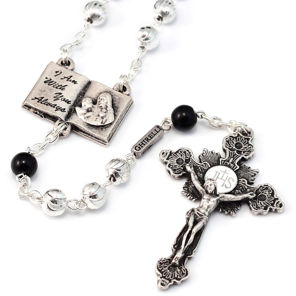 Holy Communion Book of Life Silver & Glass Rosary