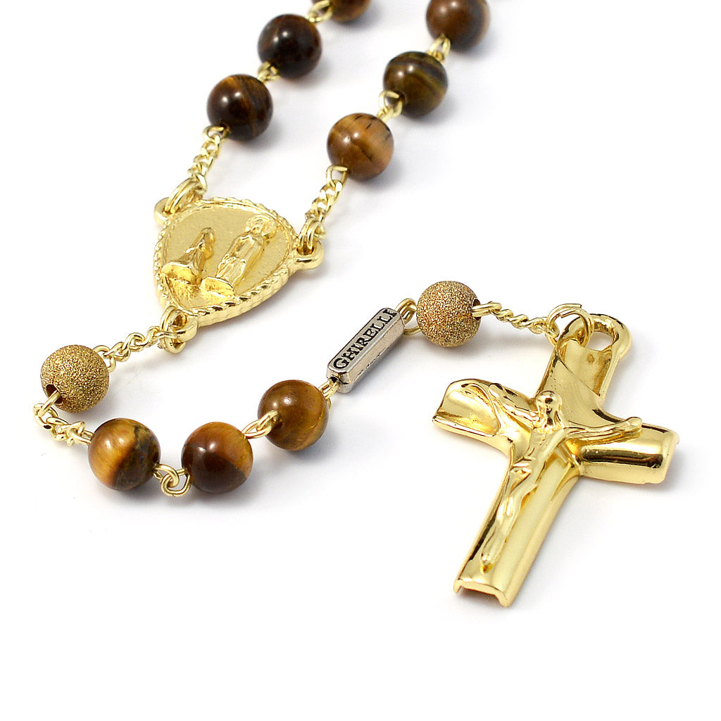 Precious Tiger's Eye & Gold Rosary