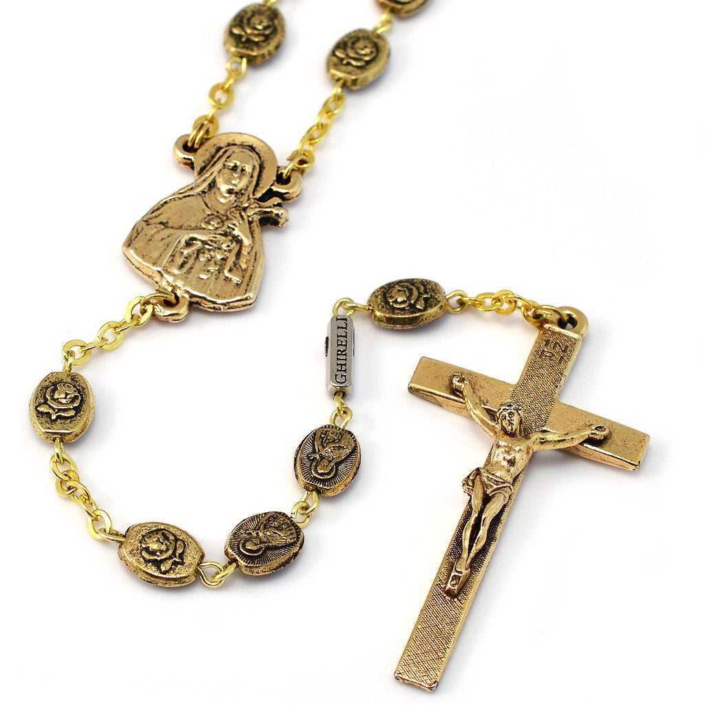 Saint Therese of Lisieux Gold Rosary