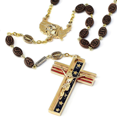 The USA Rosary in Gold Finish with 50 States Beads