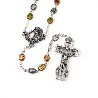 Our Lady of Lourdes 160th Anniversary Tricolor Medal Rosary