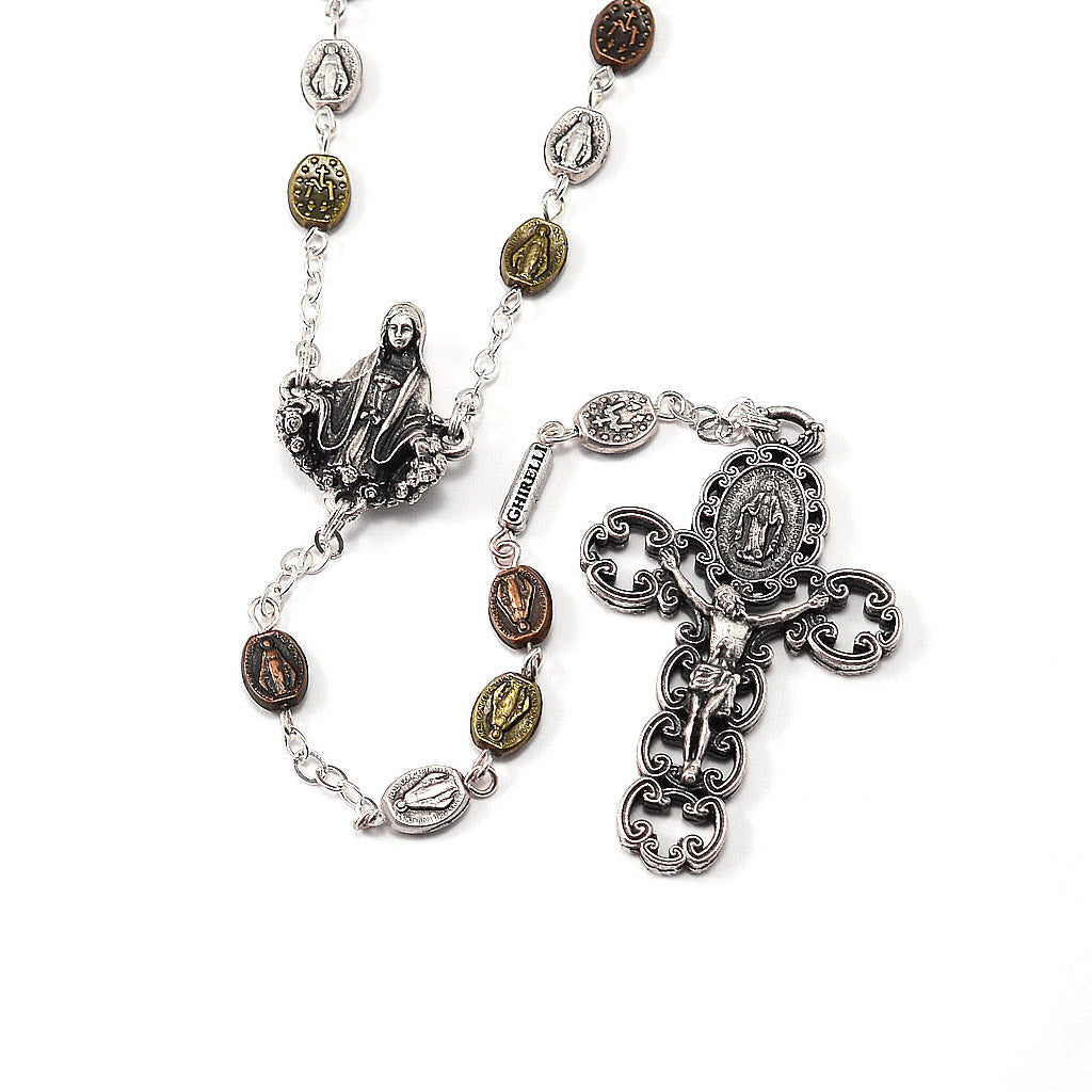 Miraculous Medal Rosary with Metal Beads