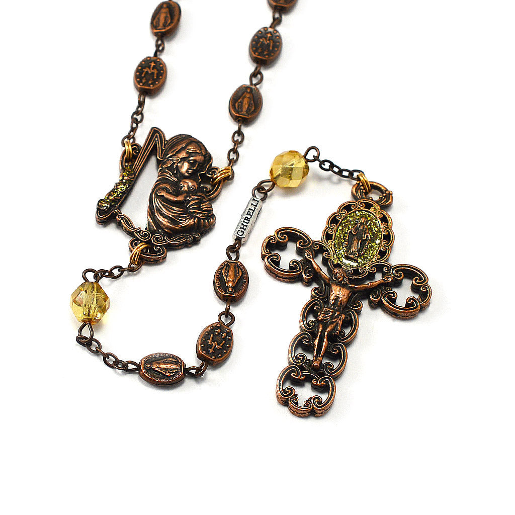 Miraculous Medal Rosary in Antique Copper