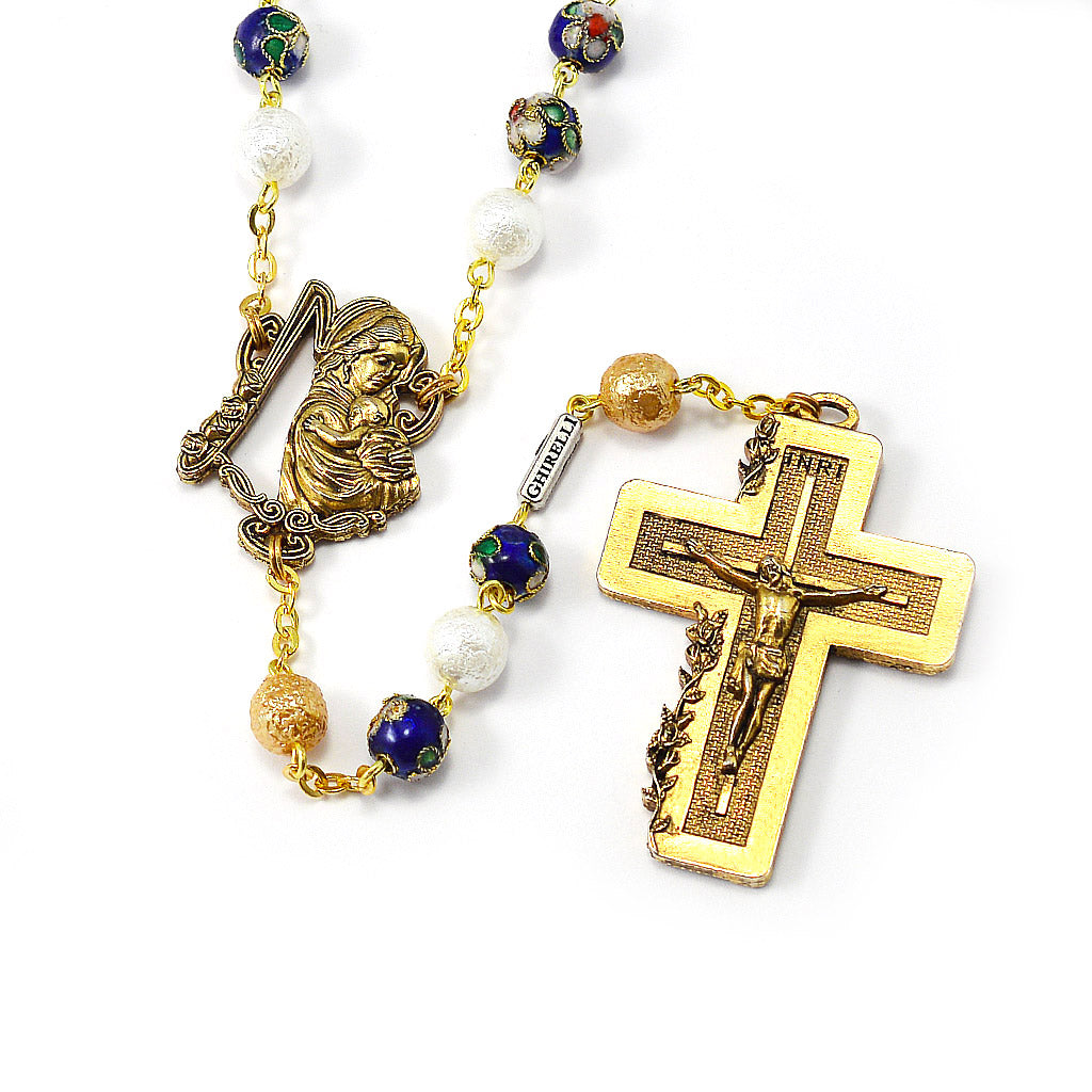 Rosaries for Women in Cloisonné Floral & Gold