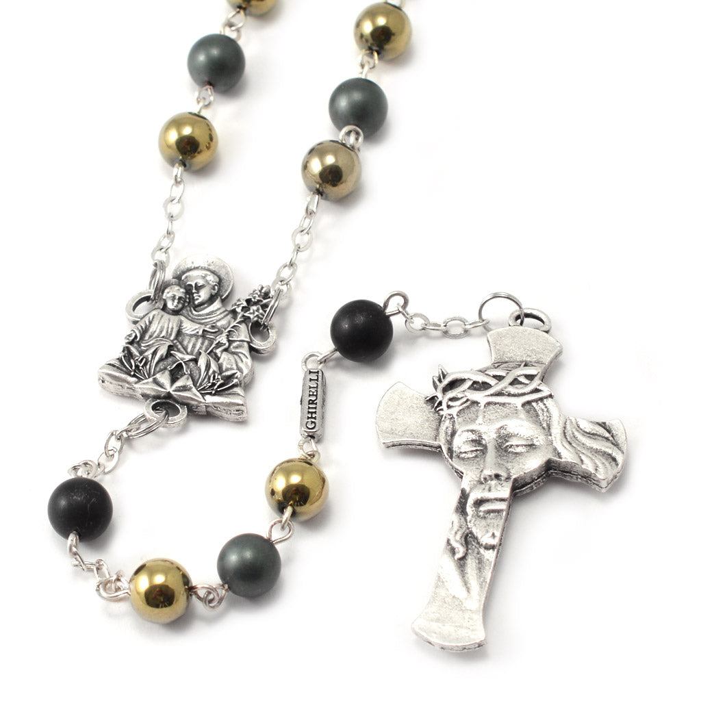 Saint Anthony Rosary in Antique Silver and Hematite Beads