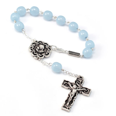 Motherly Embrace Decade Rosary, Sky Blue