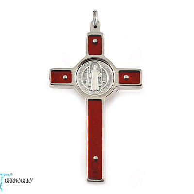 Saint Benedict Crucifix in Silver Finish & Red Enamel by Germoglio x Ghirelli