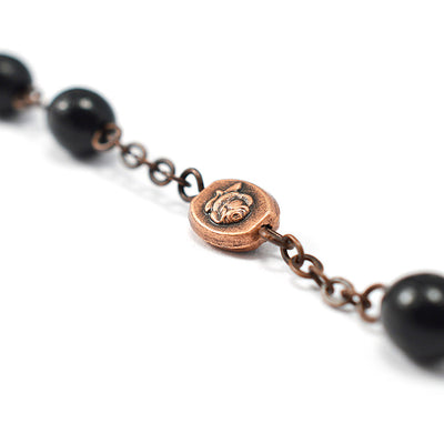 Our Lady of Fatima Rosary with Italian Wood Black Beads