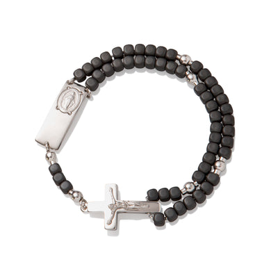 Magnificat Rosalet® Square Matte Hematite, Silver Pater Beads, Traditional