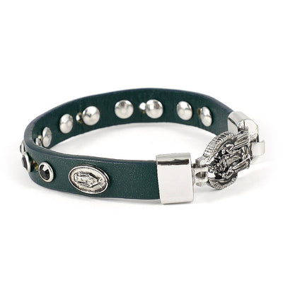 FIDES™ Genuine Italian Leather Holy Angels Rosary Bracelet in Darkest Green Leather